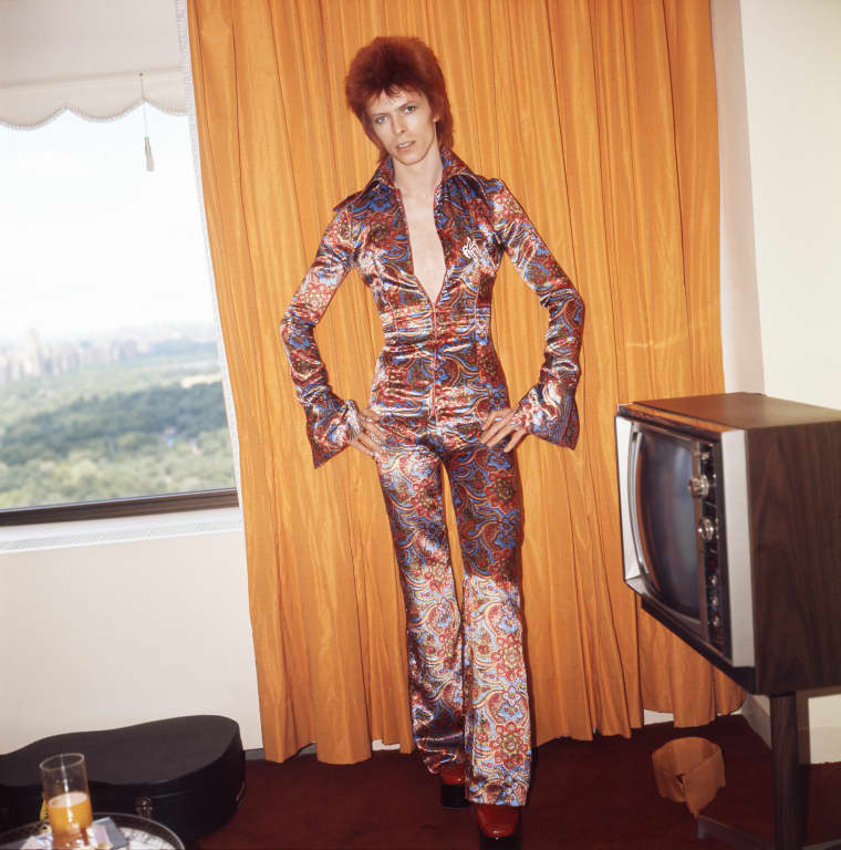 Image: Rock and roll musician David Bowie  dressed as 'Ziggy Stardust'