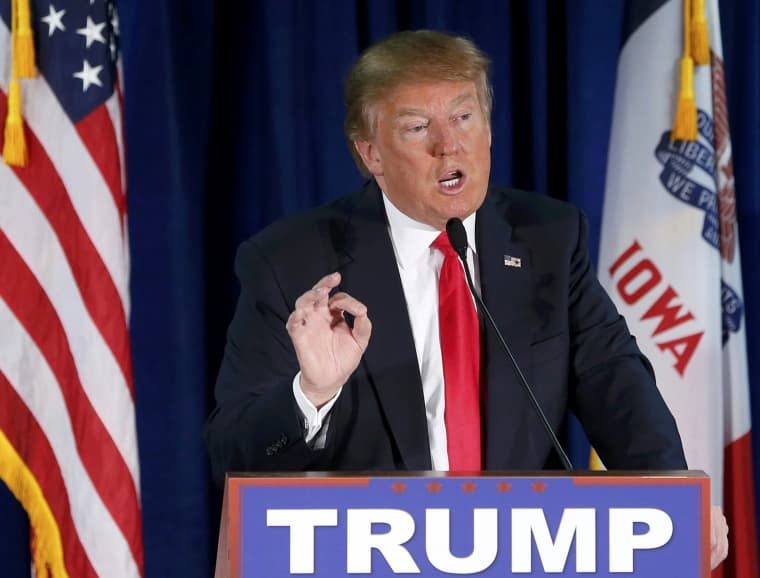 Image: Republican presidential candidate Trump speaks at The Wright Place while campaigning in Norwalk, Iowa