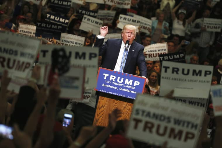 Image: Republican U.S. presidential candidate Trump holds rally with supporters in Anaheim, California