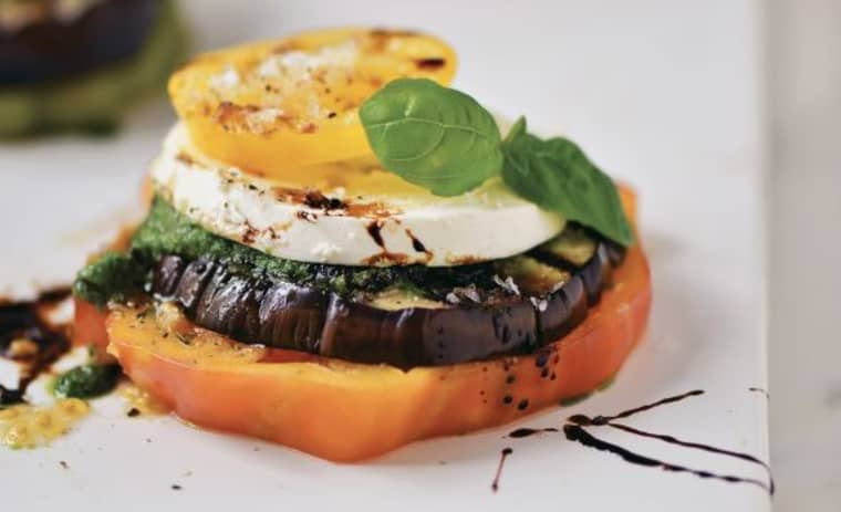 Eggplant stacks with pesto and balsamic reduction