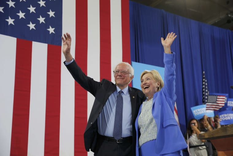Image: Bernie Sanders and Hillary Clinton on July 12, 2016
