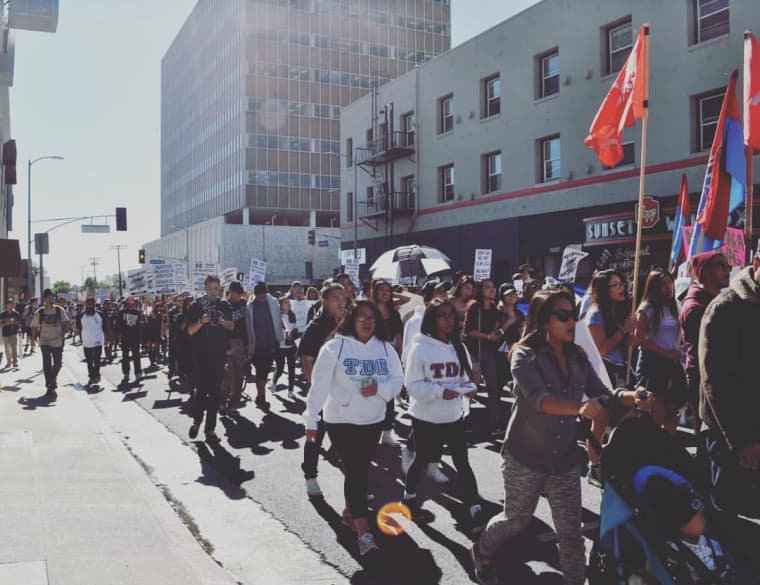 Marchers during the 2015 Justice for Filipino American Veterans march