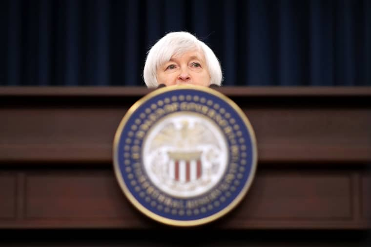 Image: Federal Reserve Board Chair Janet Yellen holds a news conference after the central bank announced an increase in the benchmark interest rate on Dec. 14.