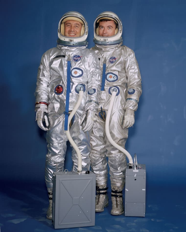 Astronauts Gus Grissom, left, and John Young flew the first Gemini mission in March of 1965.