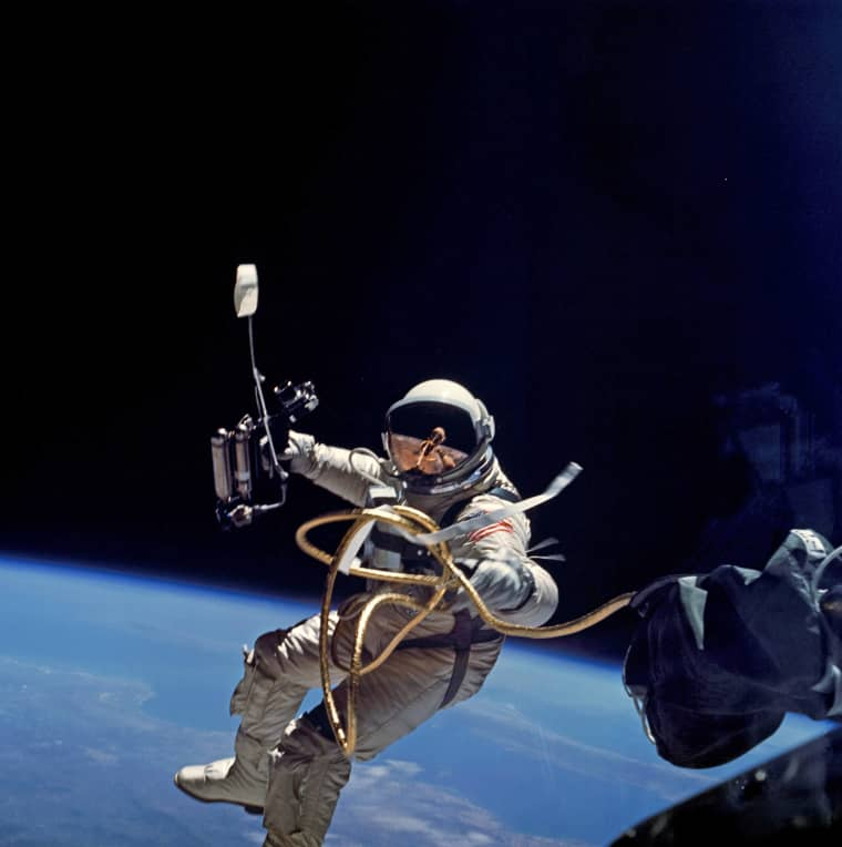 The Gemini spacesuit was Ed White's personal spacecraft when he left the Gemini IV capsule for the first American spacewalk on June 3, 1965.