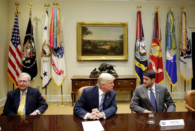 Image: U.S. President Trump meets with Republican Congressional leaders at the White House in Washington