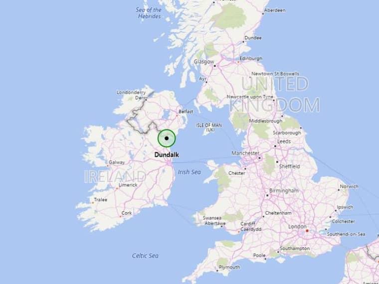 Image: Map showing Dundalk, Ireland