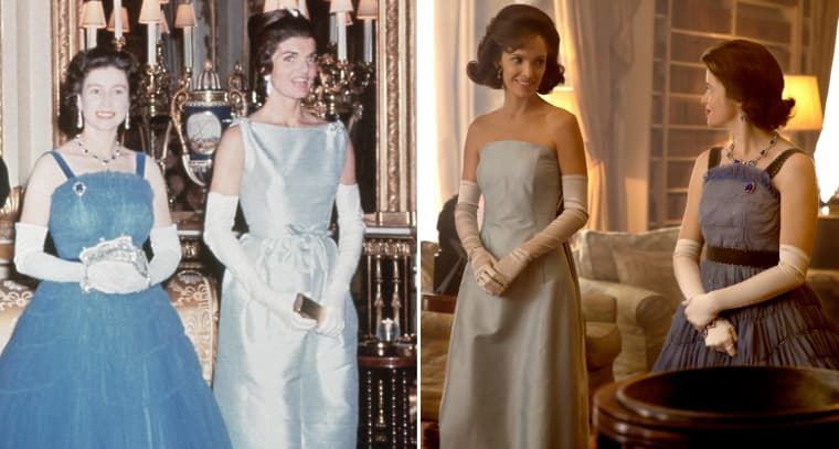 Image: First Lady Jackie Kennedy and Queen Elizabeth II on June 5, 1961 at Buckingham Palace.  Claire Foy as the queen and Jodi Balfour and the first lady in Netflix's The Crown.