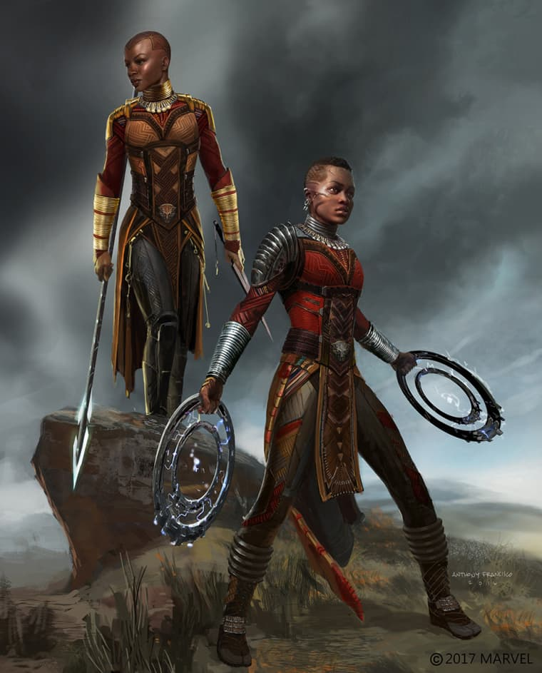"Art of ""Dora Milaje"" warriors from Marvel Studios' ""Black Panther."""
