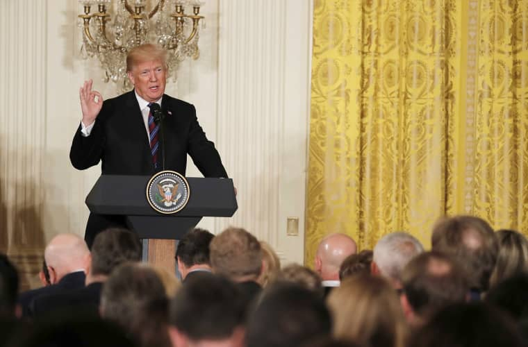 Image: U.S. President Trump speaks during a joint news conference with Baltic leaders at the White House in Washington
