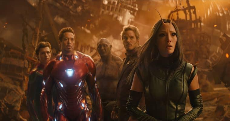 Image: Spider-Man/Peter Parker (Tom Holland), Iron Man/Tony Stark (Robert Downey Jr.), Drax (Dave Bautista), Star-Lord/Peter Quill (Chris Pratt) and Mantis (Pom Klementieff) in Avengers: Infinity War.