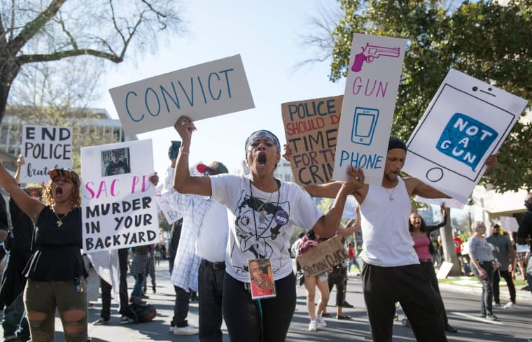 Image: Black Lives Matter protesters march through the streets of Sacramento