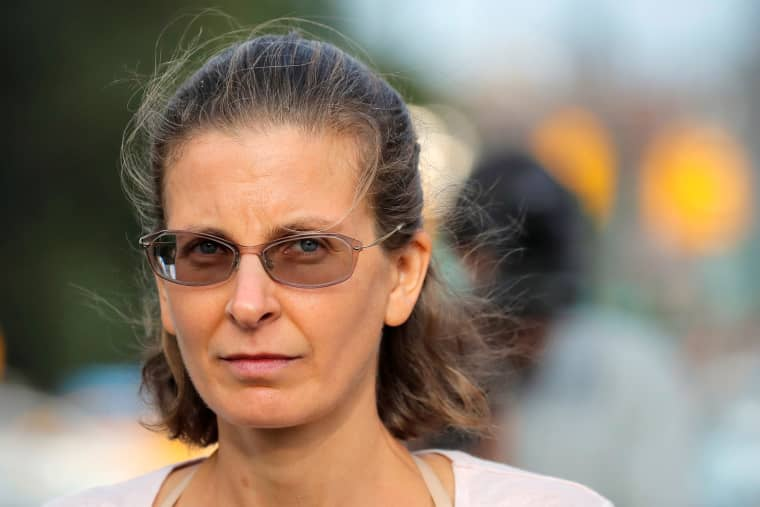 Image: Clare Bronfman, an heiress of the Seagram's liquor empire, exits following her arraignment on charges of racketeering and conspiracy in relation to the Albany-based organization Nxivm at the United States Federal Courthouse in Brooklyn at New York