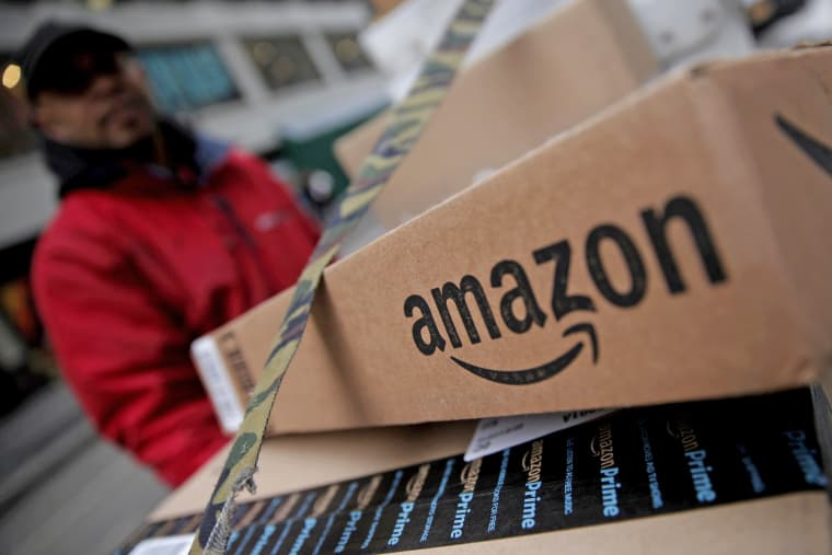 Image: FILE PHOTO: Amazon boxes are seen stacked for delivery in Manhattan