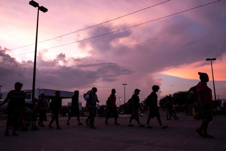Migrants heading in a caravan to the U.S. start their march towards Matias Romero,