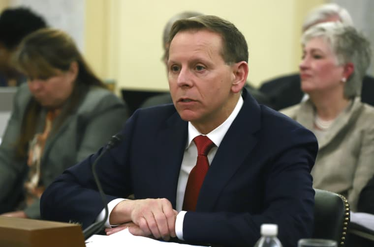Paul Lawrence, nominee to become Under Secretary for Benefits for the Department of Veterans Affairs, speaks at a Senate Veterans Affairs Hearing on Capitol Hill on April 11, 2018.