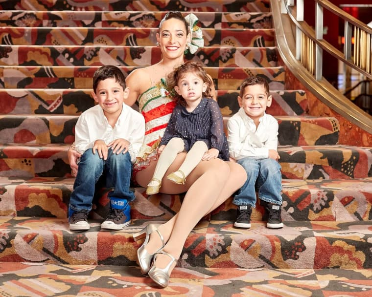 Radio City Rockette Nicole Baker, shown with three of her four children, Nate, 8, Zac, 6, Liv, 4.
