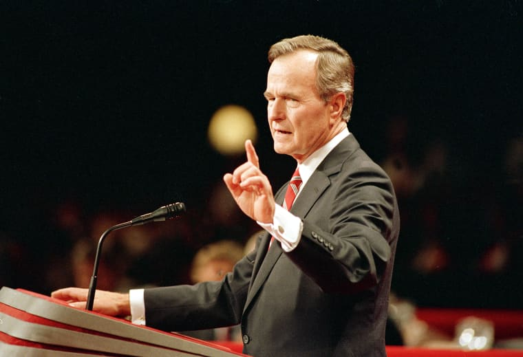 George H.W. Bush accepts his party's nomination at the Republican National Convention in New Orleans on Aug. 18, 1988, where he made his pledge to not raise taxes.