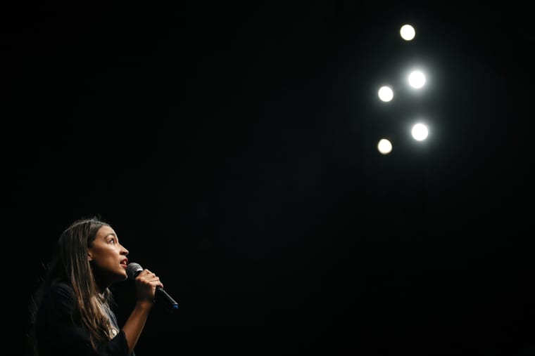 Image: Alexandria Ocasio-Cortez addresses supporters at a fundraiser in Los Angeles on Aug. 2, 2018.