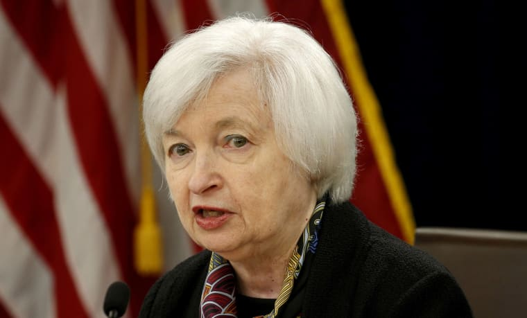 Image: Federal Reserve Chair Janet Yellen holds a news conference in Washington