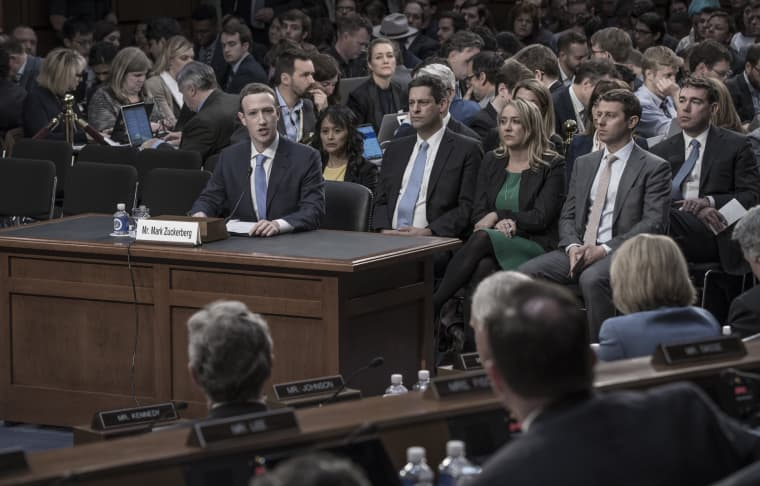 Image: Facebook founder Mark Zuckerberg appears at a Senate hearing on privacy and election meddling on April 11, 2018.