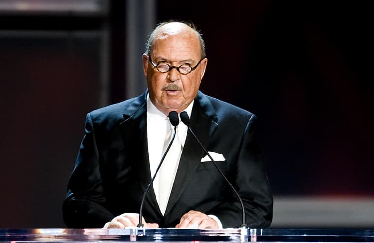 WWE announcer Mean Gene Okerland attends the 25th Anniversary of WrestleMania's WWE Hall of Fame