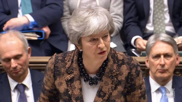 Image: Prime Minister Theresa May speaks at the House of Commons at Parliament on Jan. 21, 2019.