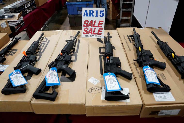 Image: AR-15 rifles on display at gun show