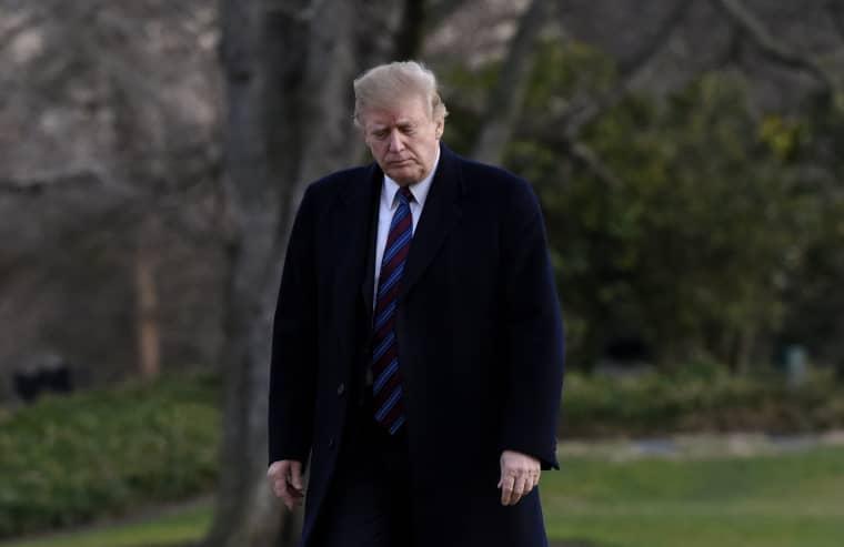 President Donald Trump returns to the White House on Feb. 8, 2019.