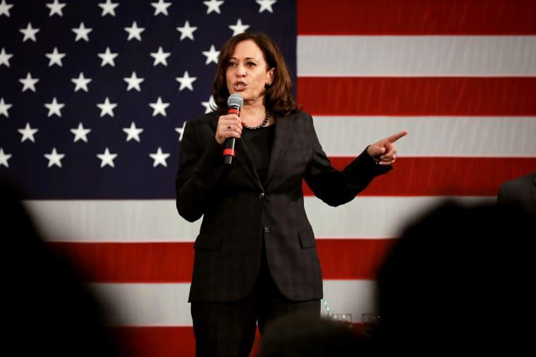 Image: Sen. Kamala Harris, D-Calif., speaks at a campaign event in North Charleston, South Carolina, on Feb. 15, 2019.
