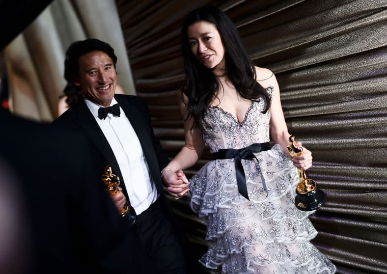 "Best Documentary winners for ""Free Solo\"" Elizabeth Chai Vasarhelyi and Jimmy Chin"
