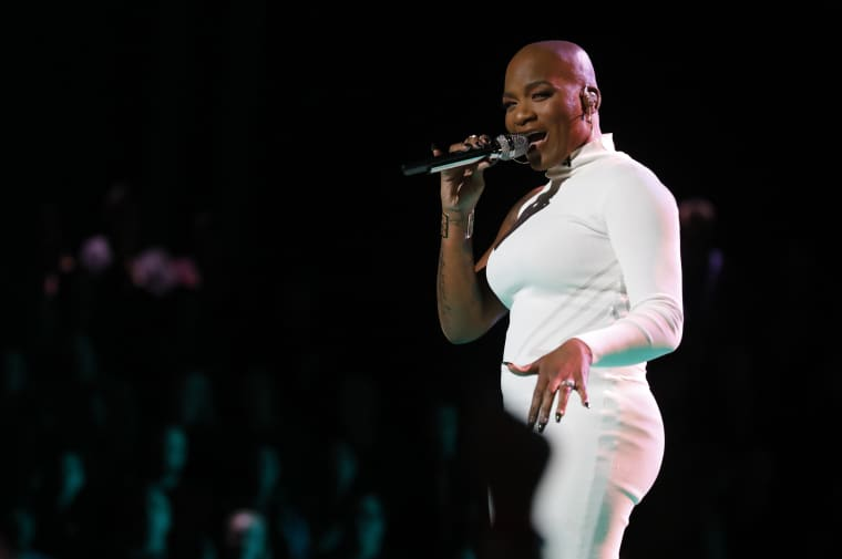 "Image: Janice Freeman sings on \""The Voice.\"""