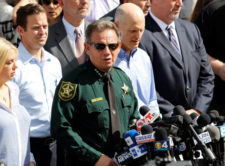 Image: Sheriff Israel addresses the news media outside Marjory Stoneman Douglas High School in Parkland