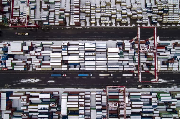 Image: Containers docked at a port in China's Shandong province on Feb. 14, 2019.
