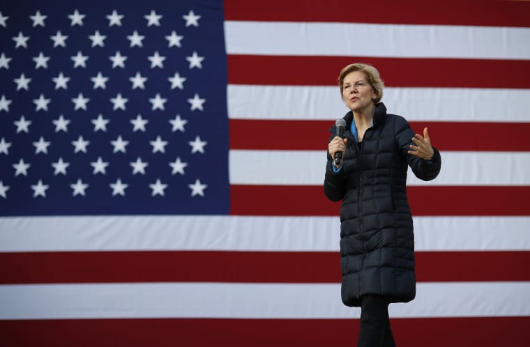 Image: Presidential candidate Sen. Elizabeth Warren, D-Mass., speaks at an event in Las Vegas