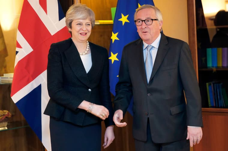 Image: European Commission President Jean-Claude Juncker welcomes British Prime Minister Theresa May prior to their meeting in Strasbourg