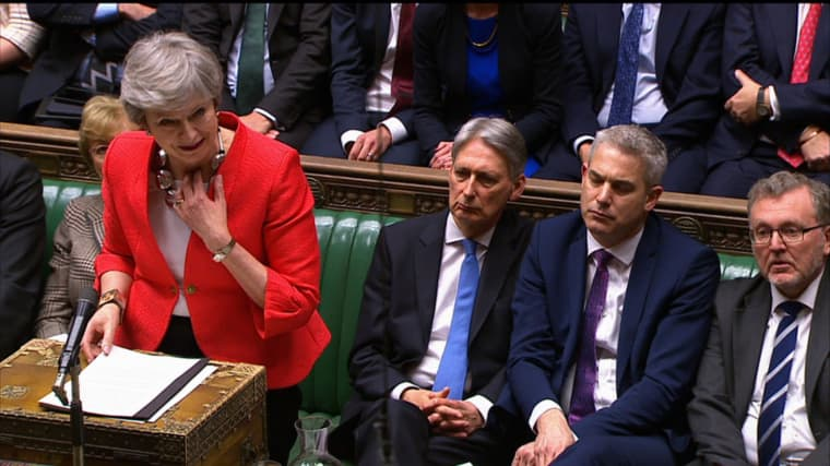 Image: Britain's Prime Minister Theresa May speaking to the house after losing the second meaningful vote on the government's Brexit deal