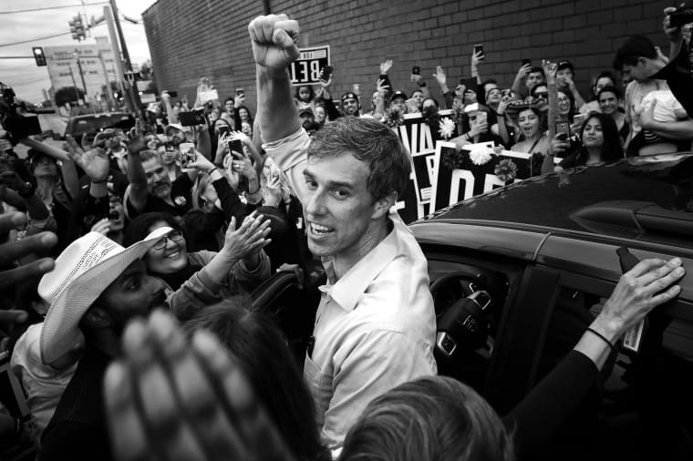 Image: Rep. Beto O'Rourke, D-Texas, pumps his fist before departing a campaign rally in Austin, Texas, on Nov. 1, 2018.