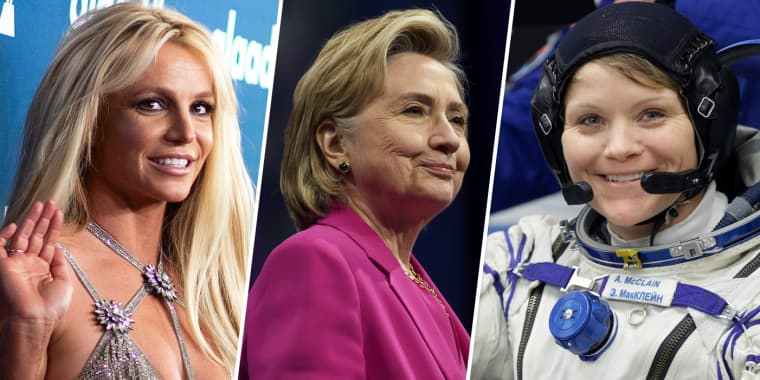 Image: Britney Spears, Hillary Clinton and Anne McClain.