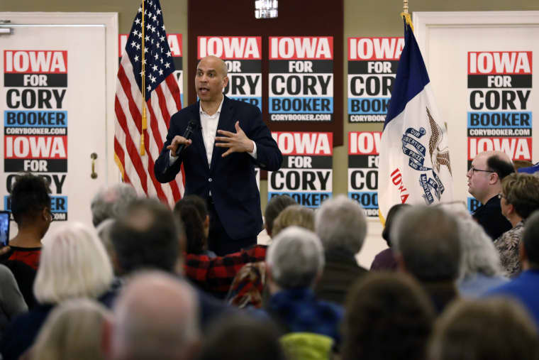 Image: Sen. Cory Booker speaks during a meeting with local residents during a campaign event in Ottumwa, Iowa, on March 16, 2019.