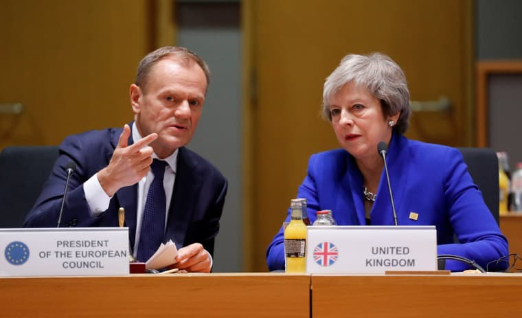 Image: British Prime Minister Theresa May and European Union Council President Donald Tusk during the extraordinary EU leaders summit to finalise and formalise the Brexit agreement in Brussels, Belgium