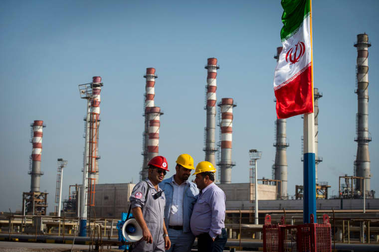 Image: Employees at a facility at the Persian Gulf Star Co. gas refinery in bandar Abbas, Iran, on Jan. 9, 2019.