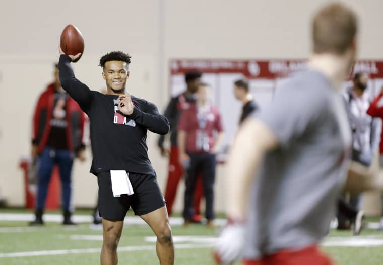 Oklahoma quarterback Kyler Murray goes through passing drills at the university's pro day for NFL scouts in March.