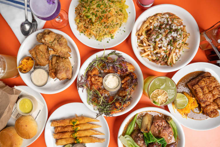 Image: Fried chicken, pancit and other dishes from Ma'am Sir, a Filipino American restaurant in Los Angeles