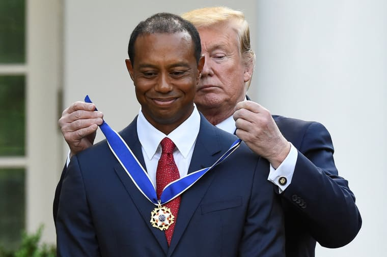 Image: Golfer Tiger Woods is awarded the Presidential Medal of Freedom at the White House in Washington