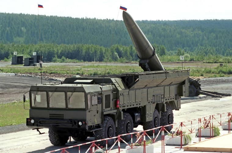 """Image: Russian missile complex \""""Iskander\"""" on display during a military equipment exhibition in the Siberian town of Nizhny Tagil"""