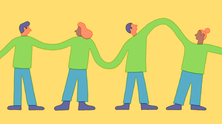 Illustration of group of people looking at each other as their sweater connect.