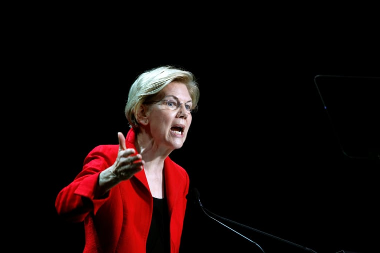 Image: Democratic presidential candidate and U.S. Senator Elizabeth Warren (D-MA) speaks during the California Democratic Convention in San Francisco