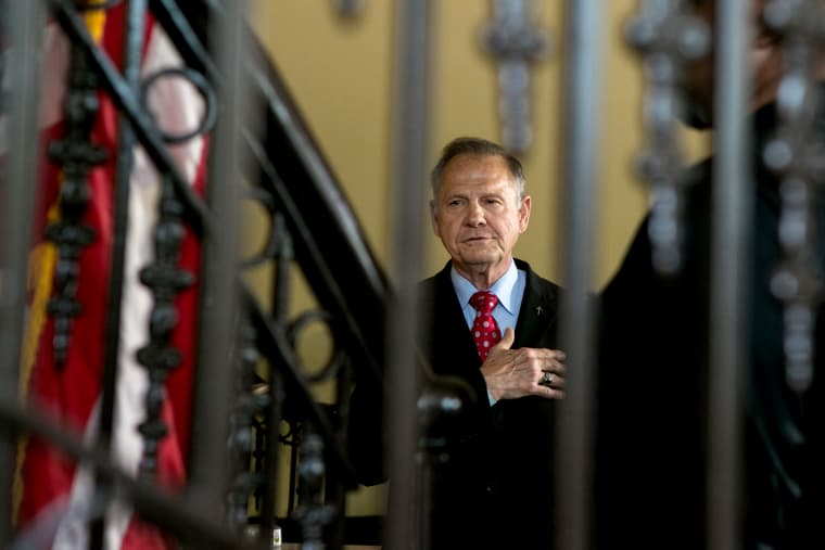 Image: Roy Moore gives the Pledge of Allegiance before announcing his plans to run for U.S. Senate in Montgomery, Alabama, on June 20, 2019.