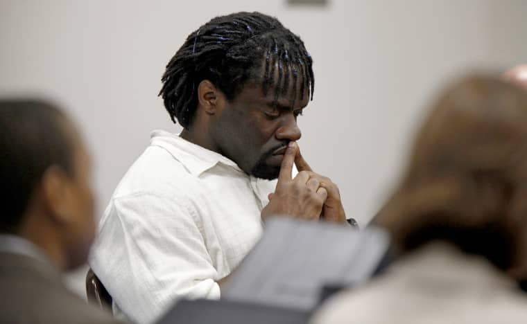 Marcus Robinson, an inmate on N.C.'s death row, listens as Cumberland County Senior Resident Superior Court Judge Greg Weeks found that racial bias played a role in Robinson's trial and sentencing and he should be removed from death row and serve a life sentence, on April 20, 2012.